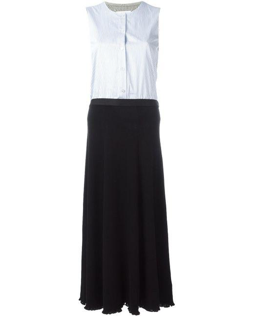 Maison Margiela | Black - Striped Buttoned Flared Dress - Women - Cotton - M | Lyst