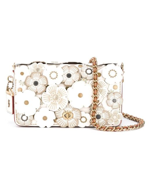Coach U0026#39;print Dinkyu0026#39; Floral Applique Crossbody Bag In White | Lyst