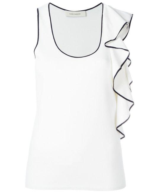Cedric Charlier | White Ruffled Detail Tank Top | Lyst