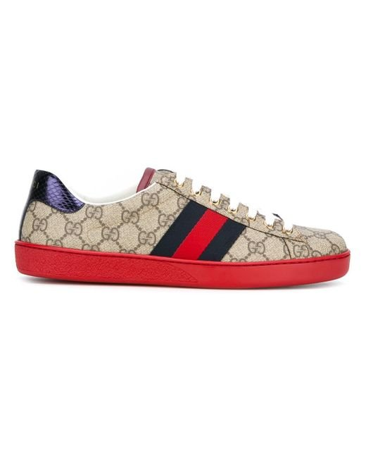 gucci ace gg supreme sneakers in red for men lyst. Black Bedroom Furniture Sets. Home Design Ideas