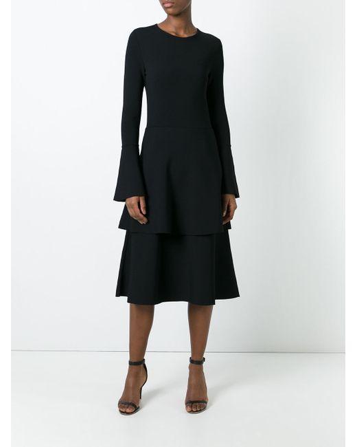 Stella mccartney Layered Frill Skirt Dress in Black | Lyst