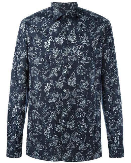 Lanvin koi fish print shirt in blue for men lyst for Fish print shirt