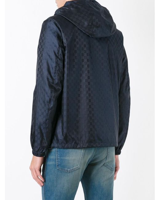 Gucci Gg Supreme Hooded Jacket In Blue For Men Lyst