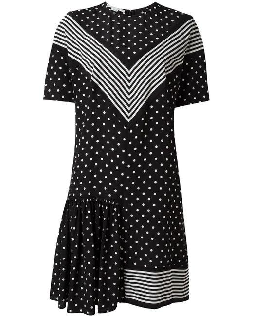 Stella McCartney | Black Dual Pattern Mini Dress | Lyst