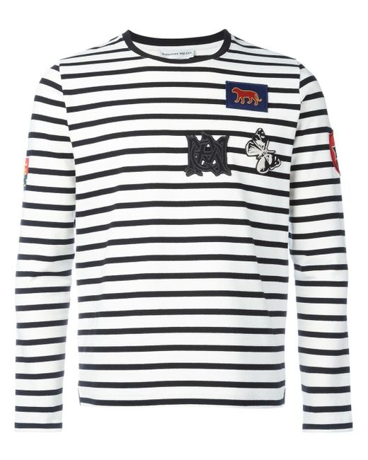 Alexander McQueen | White Badge Appliqué Striped Top for Men | Lyst