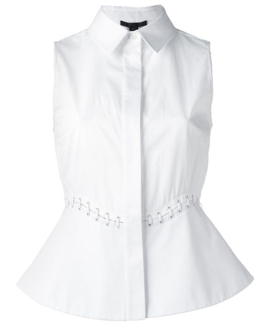 Alexander Wang | White Lace-up Detail Sleeveless Blouse | Lyst