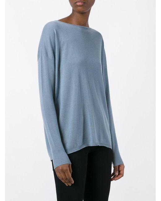 iris von arnim drop shoulder sweater in blue lyst. Black Bedroom Furniture Sets. Home Design Ideas