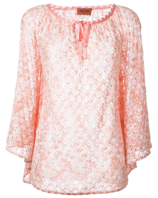 Missoni | Pink Bow Detail Neck Blouse | Lyst