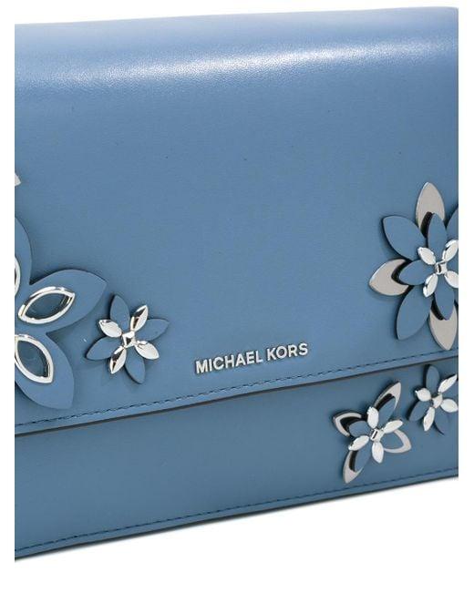 Michael Michael Kors Floral Applique Shoulder Bag In Blue | Lyst