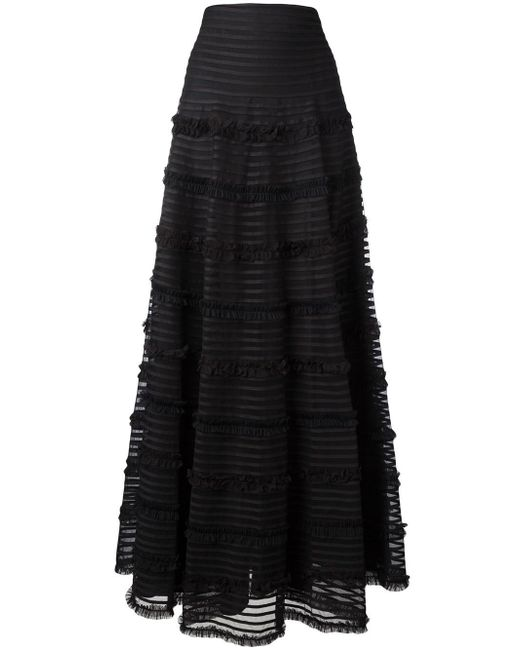 Givenchy | Black - Ruffle Trim Flared Skirt - Women - Cotton/polyamide/polyester/viscose - 38 | Lyst