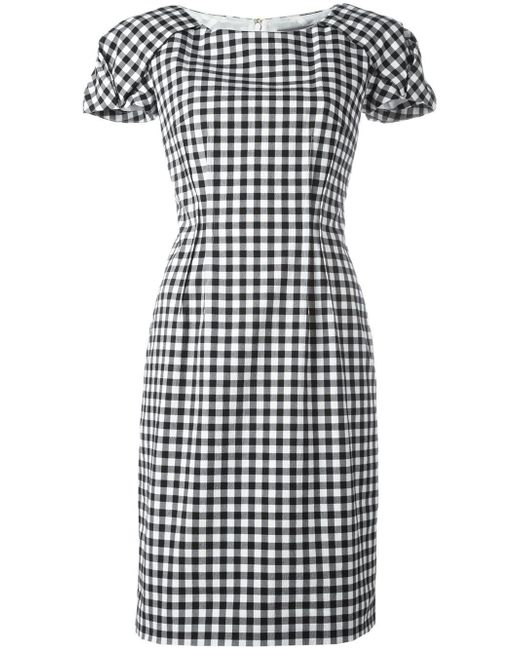 Blumarine   Black Shortsleeved Checked Dress   Lyst