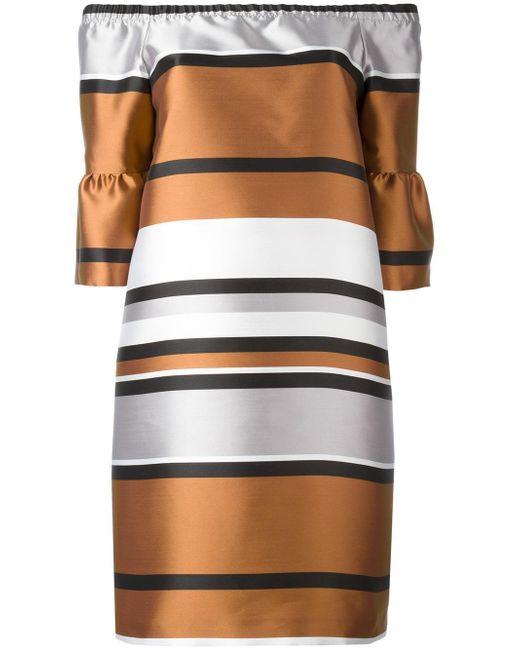 Blugirl Blumarine | Brown Ruffled Sleeve Metallic Dress | Lyst