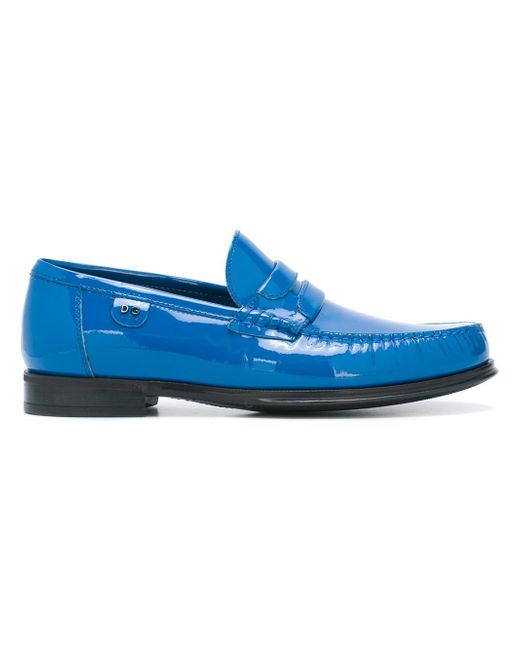 Dolce & Gabbana | Blue Patent Leather Moccassins for Men | Lyst