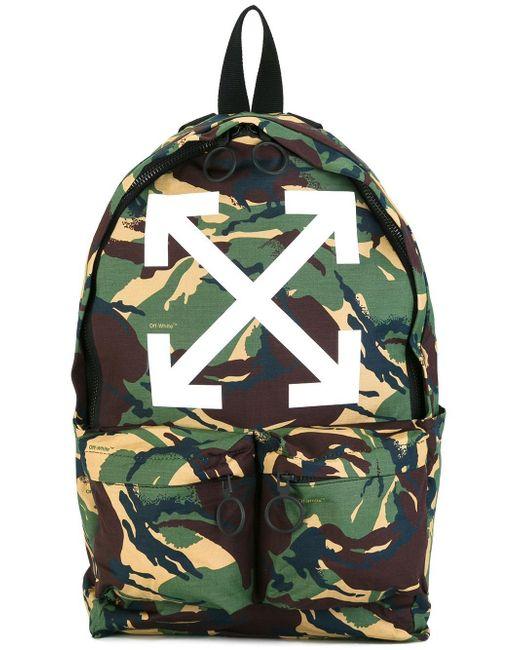 off white c o virgil abloh camouflage backpack in green. Black Bedroom Furniture Sets. Home Design Ideas