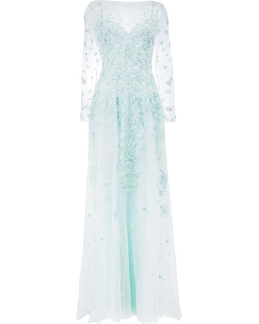 Zuhair Murad | Blue Floral Sequin Embroidery Gown | Lyst