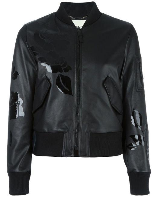 Fendi Floral Print Bomber Jacket in Black