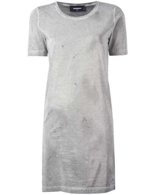 DSquared² | Gray Microstudded T-shirt Dress | Lyst