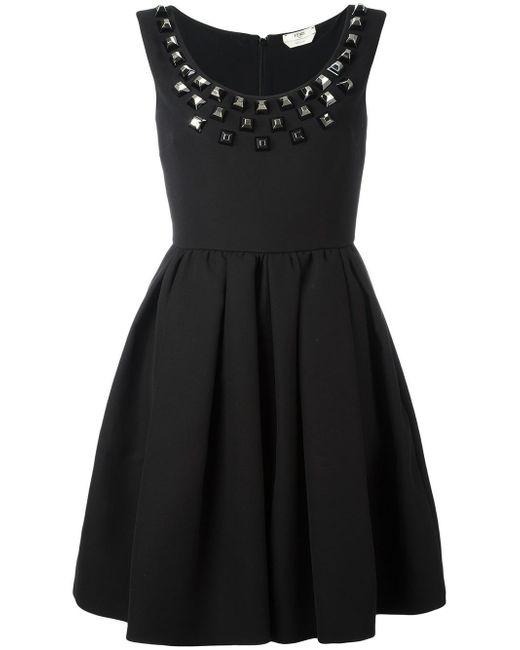 Fendi | Black Studded Crepe Dress | Lyst