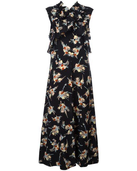 Marni | Black Printed Ruffle Trim Dress | Lyst