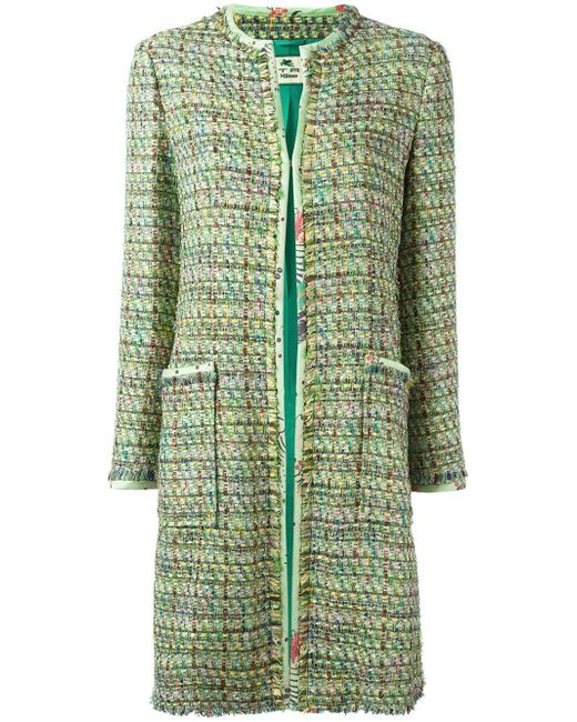 Etro | Green Tweed Mid Coat | Lyst