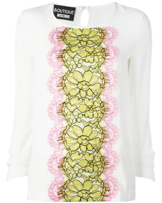 Boutique Moschino   Multicolor Lace Panel Blouse   Lyst