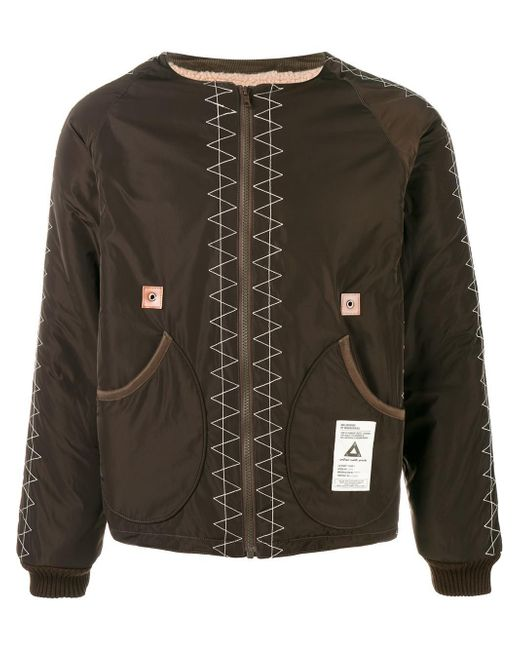 Neighborhood Collarless Bomber Jacket In Green For Men