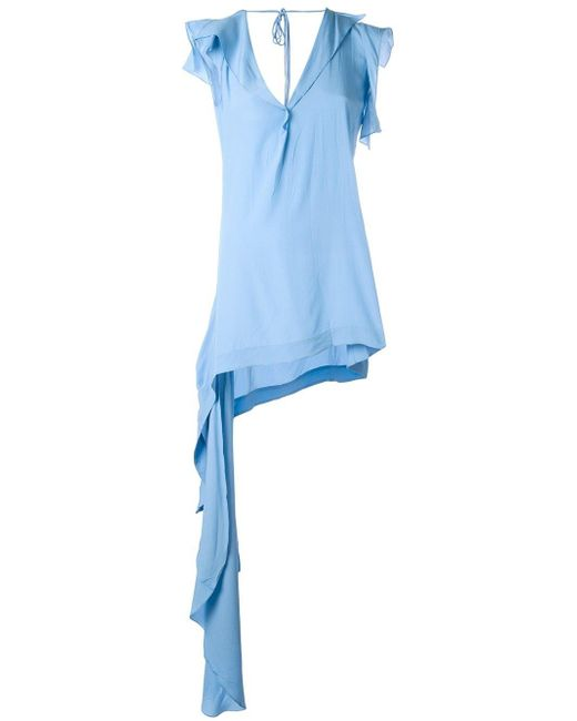 Marni | Blue Asymmetric Draped Top | Lyst