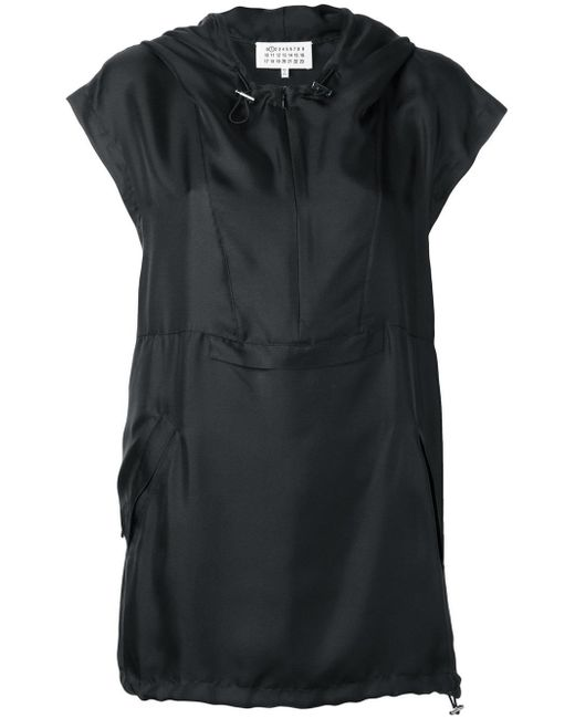 Maison Margiela   Black Hooded Cap Sleeve Top   Lyst