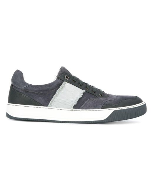 Lanvin | Blue Side Stripe Lace-up Sneakers for Men | Lyst
