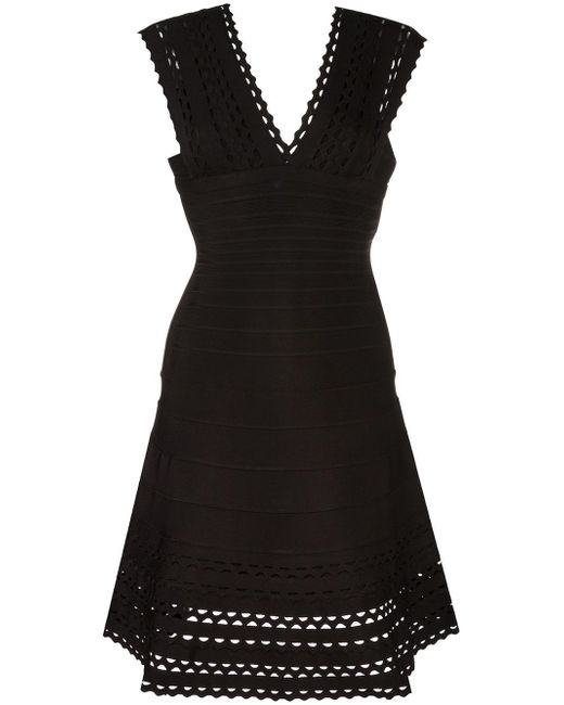 Hervé Léger | Black V-neck Flared Dress | Lyst