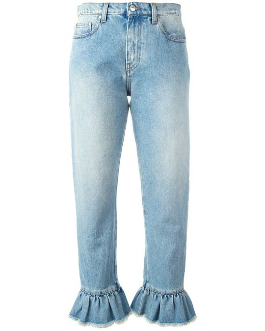 MSGM   Blue Ruffle-trimmed Cropped Jeans   Lyst