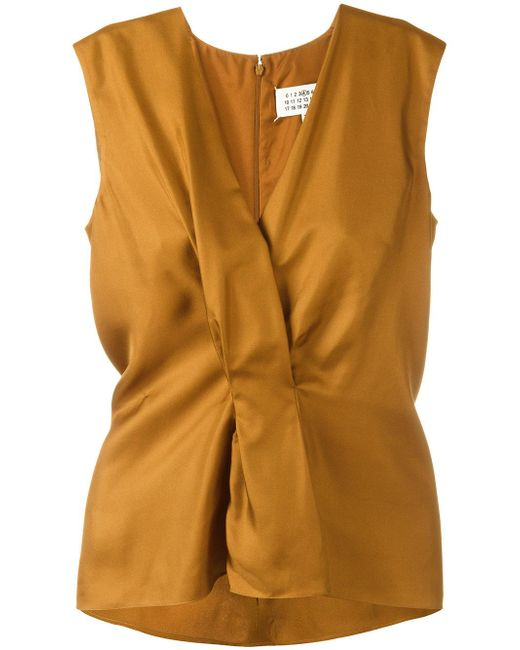 Maison Margiela | Brown Pleated Front Sleeveless Blouse | Lyst