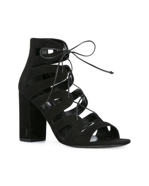 Saint Laurent Gladiator Block Heel Sandals In Black Lyst