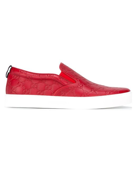 Lyst - Gucci Dublin Logo Skater Shoes in Red for Men ... - photo #33