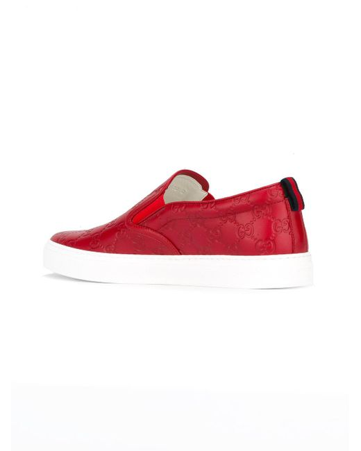 Lyst - Gucci Dublin Logo Skater Shoes in Red for Men ... - photo #42
