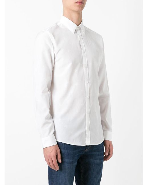 Gucci star and bee embroidered shirt in white for men lyst