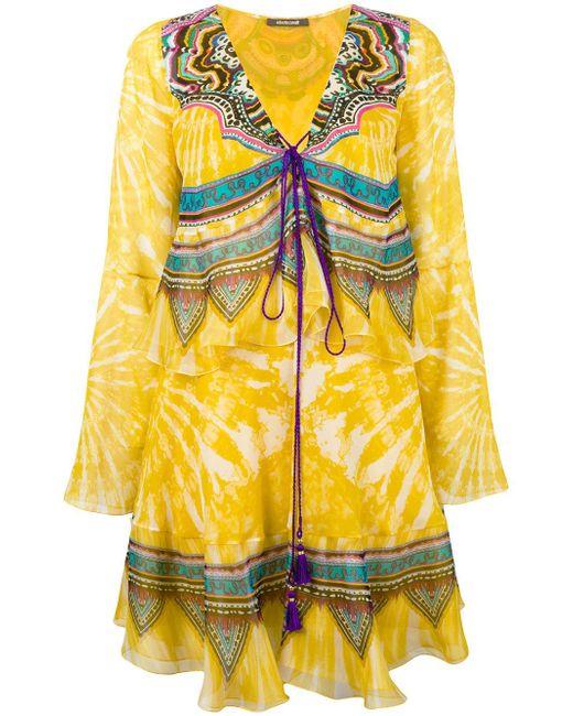 Roberto Cavalli   Yellow Layered Shift Dress   Lyst
