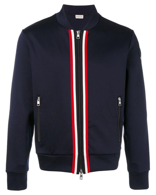 Moncler | Blue - Striped Trim Bomber Jacket - Men - Cotton/polyamide - Xl for Men | Lyst