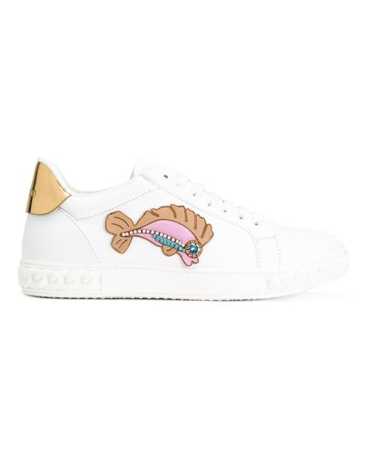 Casadei fish patch trainers in white lyst for White fishing boots