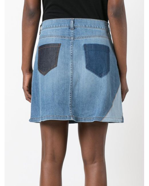 valentino printed denim skirt in blue lyst