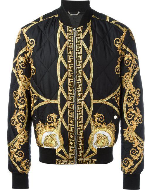 Versace Lenticular Foulard Bomber Jacket In Black For Men