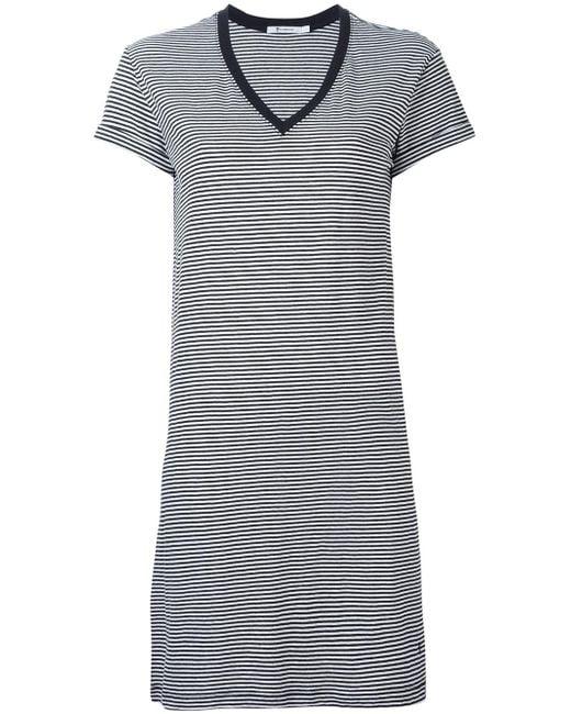 T By Alexander Wang   Black - Striped T-shirt Dress - Women - Cotton - Xs   Lyst