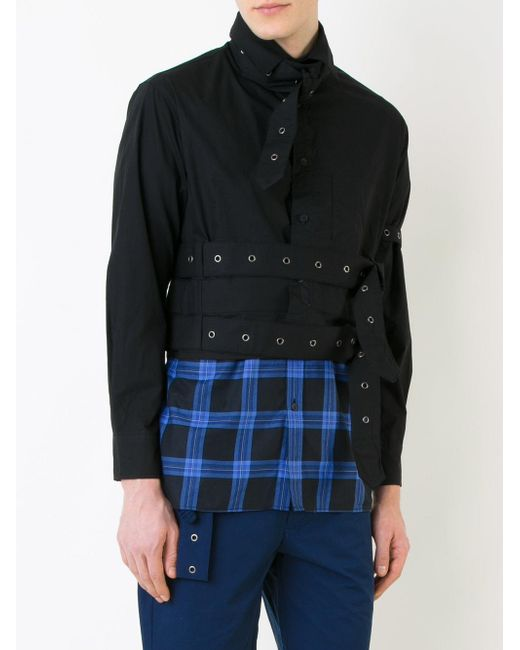 Craig green cropped eyelet studded shirt in black for men for Mens eyelet collar dress shirts