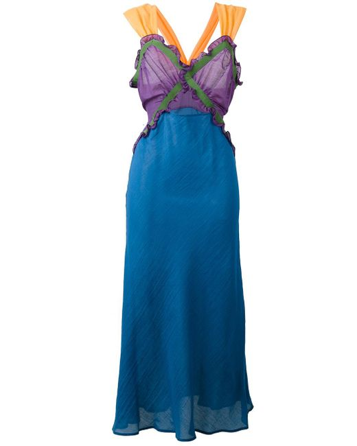 Attico | Blue Juliana Cotton-batiste Midi Dress | Lyst