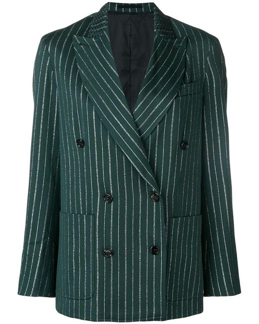 Golden Goose Deluxe Brand - Green Striped Double-breasted Blazer - Lyst