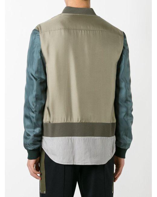 Fendi Striped Hem Bomber Jacket in Green for Men
