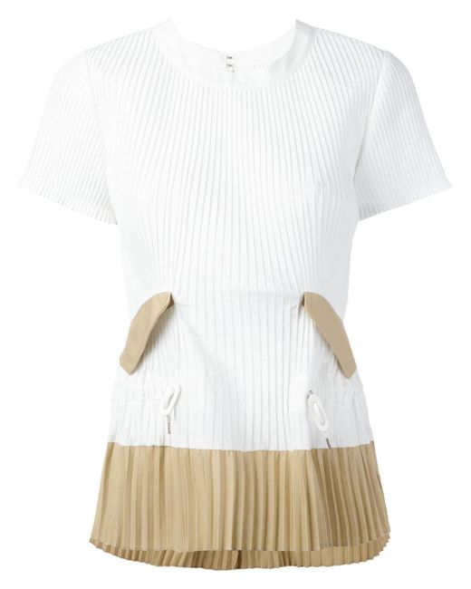 Sacai | White Pleated T-shirt | Lyst