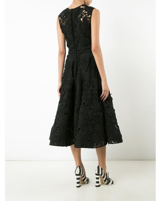 Christian Siriano Floral Lace Dress In Black
