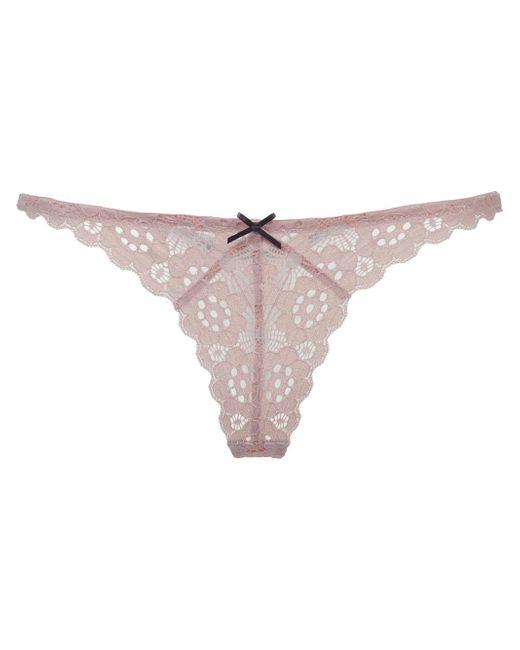 Fleur du Mal | Natural Crochet Lace Slim Thong | Lyst