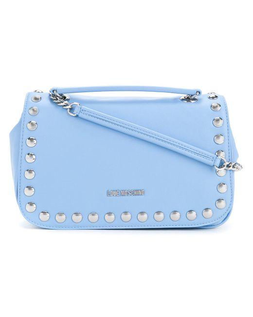 Love Moschino | Blue Studded Logo Shoulder Bag | Lyst